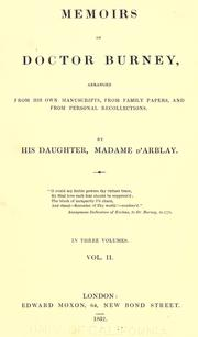 Cover of: Memoirs of Doctor Burney by Fanny Burney