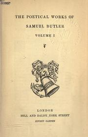 Cover of: Poetical works | Samuel Butler