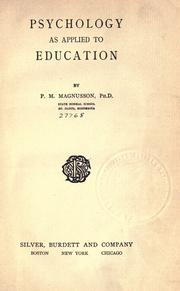 Cover of: Psychology as applied to education | Peter Magnus Magnusson