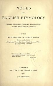 Cover of: Notes on English etymology | Walter W. Skeat