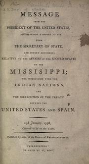 Cover of: Message from the President of the United States | United States. Department of State.