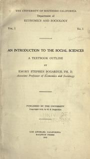 Cover of: Introduction to the social sciences | Emory Stephen Bogardus