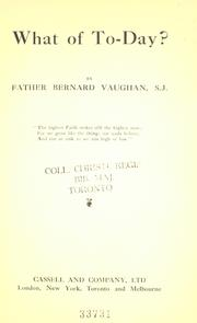 Cover of: What of to-day? | Vaughan, Bernard