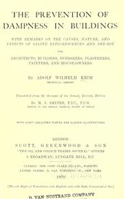 Cover of: The prevention of dampness in buildings | Adolf Wilhelm Keim