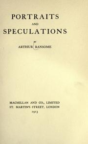 Cover of: Portraits and speculations | John Arthur Ransome Marriott