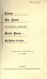 Cover of: Carmen Deo Nostro, Te decet hymnus by Crashaw, Richard