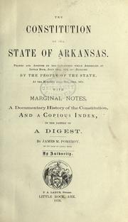 Cover of: Constitution of the State of Arkansas by Arkansas.