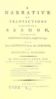 Cover of: A narrative of transactions relative to a sermon, preached in the parish church of Brighton, August 18, 1793 | Vicesimus Knox