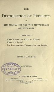 Cover of: The distribution of products | Atkinson, Edward