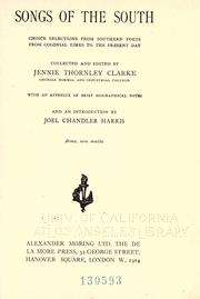 Cover of: Songs of the South | Jennie Thornley Clarke