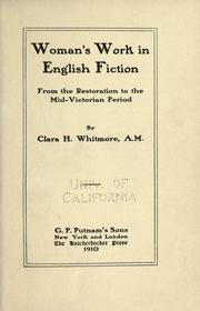 Cover of: Woman's work in English fiction | Clara Helen Whitmore