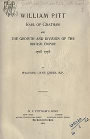 Cover of: William Pitt, Earl of Chatham | Walford Davis Green