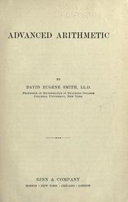 Cover of: Advanced arithmetic by David Eugene Smith