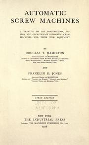 Cover of: Automatic screw machines | Hamilton, Douglas T.