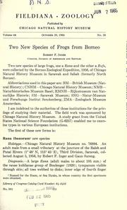 Cover of: Two new species of frogs from Borneo | Robert F. Inger