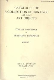 Cover of: Catalogue of a collection of paintings and some art objects | John Graver Johnson