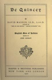 Cover of: De Quincey | David Masson