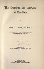 Cover of: The chemistry and literature of beryllium | Charles Lathrop Parsons