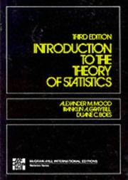 Cover of: Introduction to the Theory of Statistics | Alexander M. Mood