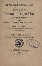 Cover of: Tiedemann's Record of infant-life by Dietrich Tiedemann