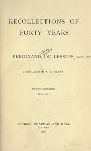 Cover of: Recollections of forty years | Ferdinand de Lesseps