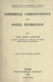 Cover of: Commercial correspondence and postal information | Carl Lewis Altmaier