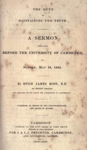 Cover of: The duty of maintaining the truth by Rose, Hugh James