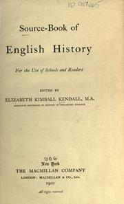 Cover of: Source-book of English history | Elizabeth Kimball Kendall