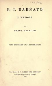 Cover of: B. I. Barnato | Harry Raymond