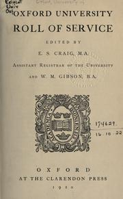 Cover of: Oxford university roll of service | University of Oxford.