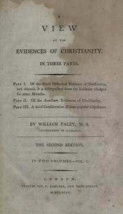 Cover of: A view of the evidences of Christianity | William Paley