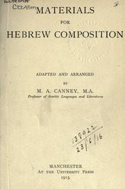 Cover of: Materials for Hebrew composition | Canney, Maurice Arthur
