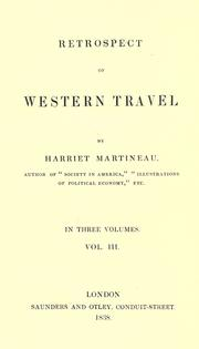 Cover of: Retrospect of western travel by Martineau, Harriet