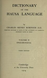 Cover of: Dictionary of the Hausa language | Robinson, Charles H.