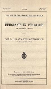 Cover of: Immigrants in industries by United States. Immigration Commission (1907-1910)
