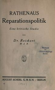 Cover of: Rathenaus Reparationspolitik, eine kritische Studie | Jacob Reichert