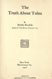 Cover of: The truth about Tolna | Bertha Runkle