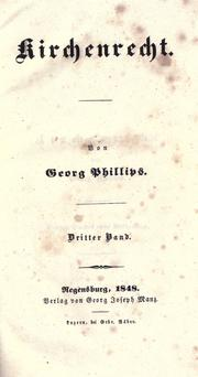 Cover of: Kirchenrecht by Phillips, George