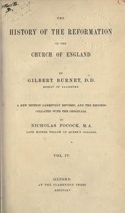 Cover of: History of the reformation of the Church of England by Burnet, Gilbert