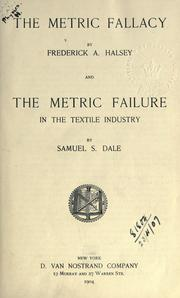 Cover of: The metric fallacy | Frederick Arthur Halsey
