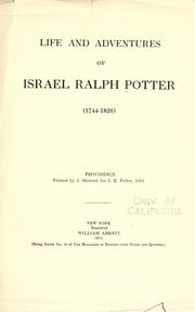 Cover of: Life and adventures of Israel Ralph Potter (1744-1826) | Israel Potter