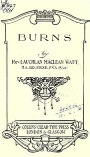 Cover of: Burns | Lauchlan MacLean Watt