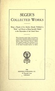 Cover of: Seger's collected works by Hermann August Seger