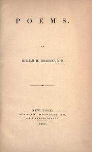 Cover of: Poems by William H. Holcombe