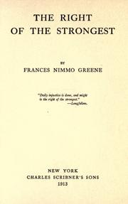 Cover of: The right of the strongest | Frances Nimmo Greene
