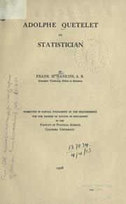 Cover of: Adolphe Quetelet as statistician by Frank Hamilton Hankins
