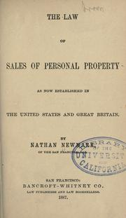 Cover of: The law of sales of personal property by Nathan Newmark
