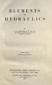 Cover of: Elements of hydraulics | S. E. Slocum
