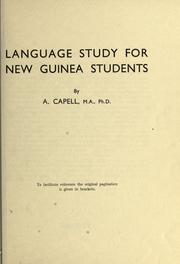 Cover of: Language study for New Guinea students | Arthur Capell