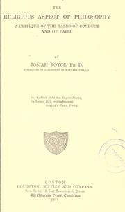an analysis of the religious aspect of philosophy by josiah royce Logical analysis for the use of composition students (1881), the religious aspect of philosophy josiah royce the department of philosophy on this campus.